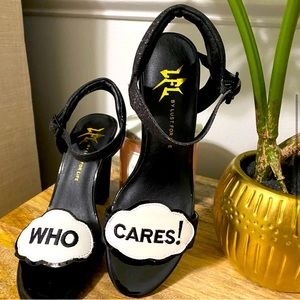 Chunky Who Cares High Pumps Shoes Black Glitter